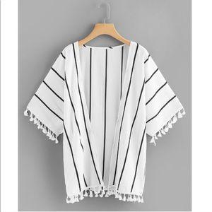 Sweaters - white black striped tassel kimono